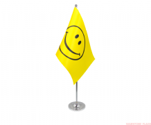 SMILEY FACE - DELUXE SATIN TABLE FLAG
